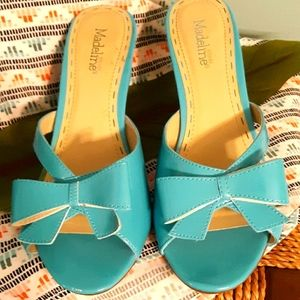 Madeline Stuart ladies turquoise heeled slides.